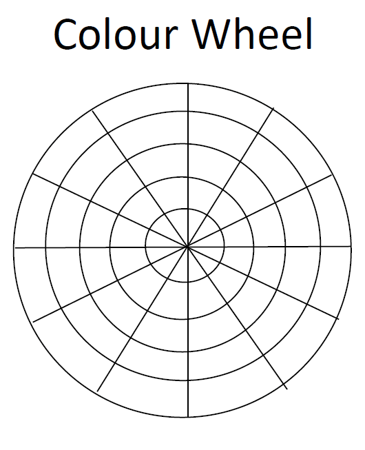 6 lines are drawn edge to edge through the centre of a circle that is 10cms wide. The wheel consists of 5 circles starting at 10 cms, reduced by 2cm each.