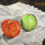 A 1985 drawing of a tomato and apple on an embroidered cloth in Caran d'Ache Prismalo II.