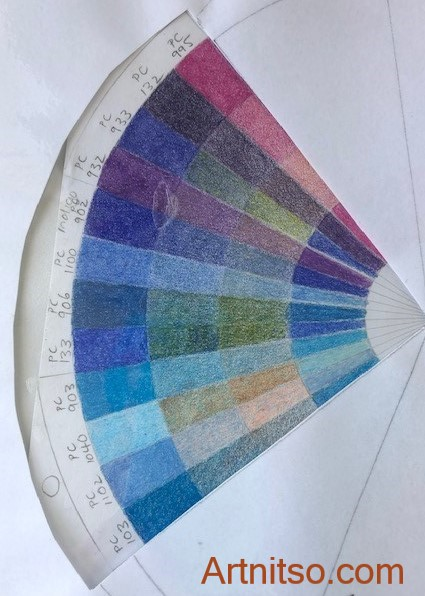 A 3 analoguous colour relationship template placed over a wax-based Prismacolor Premier non-lightfast coloured pencil colour wheel. By Louise, Artnitso.com.