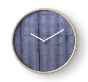 SKU303 Shibori Style Blue Denim 1 design is available on clocks.
