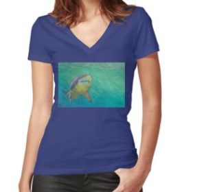 SKU318 Shark 2 design is available on womens fitted v-neck t-shirts.