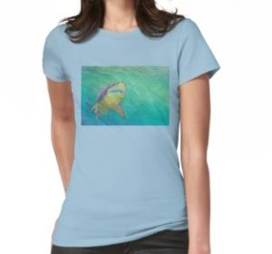 SKU318 Shark 2 design is available on womens t-shirts.