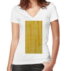 SKU333 Shibori Style Yellow 1 is available on womens fitted V-neck t-shirts.