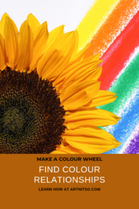 Pinterest image with a sunflower with coloured stripes behind titled - Make a colour wheel - find colour relationships - learn how at artnitso.com