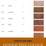 "Pinterest image of red-orange colour swatches beside colour name, colour number and lightfast rating on white background. Text says ""Caran d'Ache Pablo interactive colour chart. Search and sort at Artnitso.com""."
