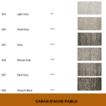 "Pinterest image of grey colour swatches beside colour name, colour number and lightfast rating on white background. Text says ""Caran d'Ache Pablo interactive colour chart. Search and sort at Artnitso.com""."