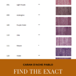 "Pinterest image of violet colour swatches beside colour name, colour number and lightfast rating on white background. Text says ""Caran d'Ache Pablo Find the exact pencil you need in a flash! Use the interactive colour chart at Artnitso.com""."