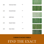 "Pinterest image of green colour swatches beside colour name, colour number and lightfast rating on white background. Text says ""Caran d'Ache Pablo Find the exact pencil you need in a flash! Use the interactive colour chart at Artnitso.com""."