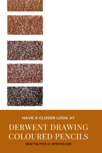 """Pinterest image of five red-orange colour swatches on a white background. Text says """"A closer look - Derwent Drawing Coloured Pencils - Read about at Artnitso.com."""""""