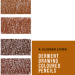"Pinterest image of six red-orange colour swatches on a white background. Text says ""A closer look - Derwent Drawing Coloured Pencils - Read about at Artnitso.com."""