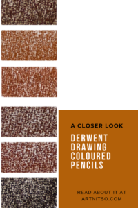 """Pinterest image of six red-orange colour swatches on a white background. Text says """"A closer look - Derwent Drawing Coloured Pencils - Read about at Artnitso.com."""""""