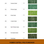 "Pinterest image of green colour swatches with pencil numbers, names and lightfast ratings. Text says ""Faber Castell Polychromos Interactive Colour Chart. Search and sort at Artnitso.com."""