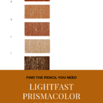 "Pinterest image of six red-orange colour swatches, their pencil name and lightfast rating on white background. Text says ""Find the pencil you need - Search and sort lightfast Prismacolor Premier pencils - sort and search the interactive colour chart at Artnitso.com""."