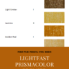 "Pinterest image of five orange-yellow colour swatches, their pencil name and lightfast rating on white background. Text says ""Find the pencil you need - lightfast Prismacolor Premier pencils - sort and search the interactive colour chart at Artnitso.com""."