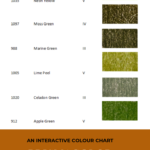 "Pinterest image of seven green colour swatches, their pencil name, number and lightfast rating on white background. Text says ""An interactive colour chart - Prismacolor Premier III, IV and V. Search at sort at Artnitso.com""."
