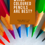 Pinterest image of coloured pencils pointing to centre. Text says Oil-based or wax-based. Which coloured pencils are best? Read about it at Artnitso.com.