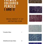 """Pinterest image of violet and blue colour swatches beside pencil number, name and lightfast rating. Text says """"A closer look Prismacolor Premier coloured pencils I and II. Read about it at Artnitso.com."""""""