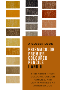 "Pinterest image of orange-yellow, red and neutral-grey colour swatches beside pencil number, name and lightfast rating. Text says ""A closer look Prismacolor Premier coloured pencils I and II. Find about their colours, colour families, and lightfastness at Artnitso.com."""