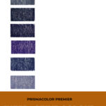 "Pinterest image of indigo colour swatches on left side of image on white background. Text says ""Prismacolor Premier Interactive Colour Chart. Search and sort at Artnitso.com""."