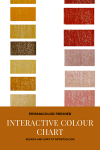 "Pinterest image of orange-yellow and red colour swatches. Text says ""Prismacolor Premier Interactive Colour Chart. Search and sort at Artnitso.com""."