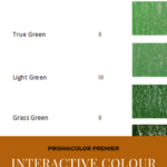 "Pinterest image of green half colour swatches beside the colour name and lightfast rating. Text says ""Prismacolor Premier Interactive Colour Chart. Search and sort at Artnitso.com""."