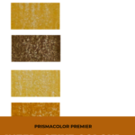 "Pinterest image of orange-yellow colour swatches on left side of image. Text says ""Prismacolor Premier Interactive Colour Chart. Search and sort at Artnitso.com""."