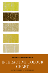"Pinterest image of yellow-green colour swatches on left side of image. Text says ""Prismacolor Premier Interactive Colour Chart. Search and sort at Artnitso.com""."