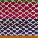 "Pinterest image of knitted yarn purple, green, fuscia and white. Text says ""how knitting helped balance emotions. Read the post at Artnitso.com""."