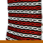 "Pinterest image of part of a knitted bag in chain pattern of red, black and white. Text says ""Balance your emotions - do some knitting. Read the post at Artnitso.com"""