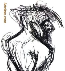 Charcoal drawing of standing model. Artnitso.com