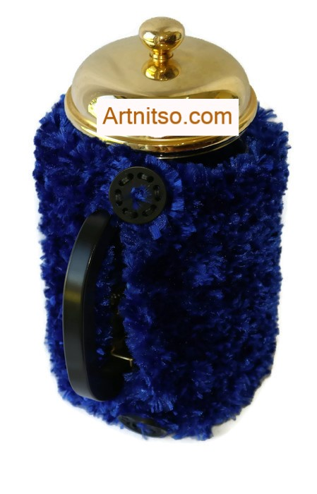 The result of using art and craft to balance emotions. Hand knitted blue plunger warmer. Knitted in Flurry yarn. Artnitso.com text.