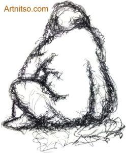 Charcoal drawing Sitting Pose 2 Artnitso.com