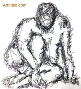 Sitting pose drawn in charcoal drawing using scribbles to identify outline. Done at art school. Artnitso.com