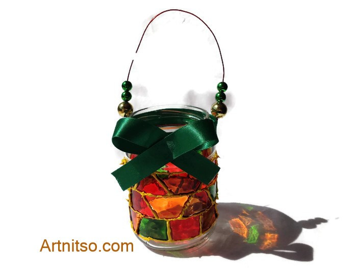 Painted glass jar in yellow, green, yellow and red. Artnitso.com