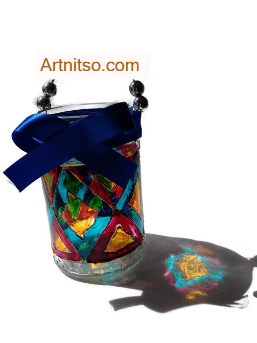 Painted glass jar in blue yellow, mauve. Diamond design. Artnitso.com
