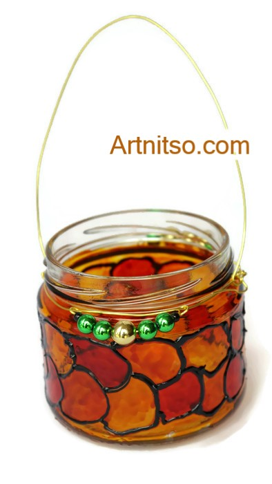 Painted glass jar in orange, red and green. Artnitso.com