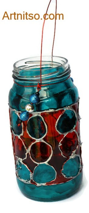 Painted glass jar in silver, blue and red. Artnitso.com