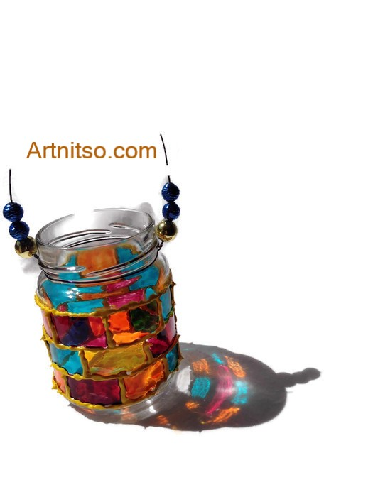 Painted glass jar in yellow mauve yelllow, blue and orange. Artnitso.com