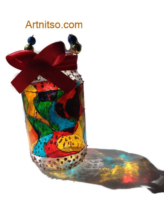 Painted glass jar in red, blue, yellow gold. Artnitso.com