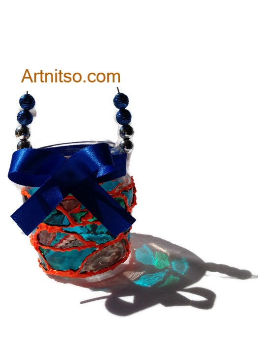Painted glass jam jar in orange and blue. Artnitso.com