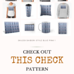Pinterest image of SKU259 Shibori Style Blue Pink 1 design. Text says 'check out this check pattern on every day items. Artnitso.com