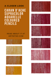 Pinterest image of orange and violet-red colour swatches. Text says 'A closer look - Caran d'Ache Supracolor Aquarelle Coloured Pencils. Read about it at Artnitso.com.