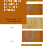 Pinterest image of orange colour swatches and pencil information. Text says 'A closer look - Caran d'Ache Supracolor Aquarelle Coloured Pencils. Read about it at Artnitso.com.