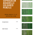 Pinterest image of green colour swatches and pencil information. Text says 'A closer look - Caran d'Ache Supracolor Aquarelle Coloured Pencils. Read about it at Artnitso.com.