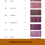 Pinterest image - Caran d'Ache Supracolor interactive colour chart showing violet colour swatches. Text says 'Interactive colour chart - Caran d'Ache Supracolor - search and sort at Artnitso.com.'