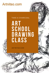Pinterest image of seated model drawn in charcoal. Text says 'Take a charcoal art school drawing class. Artnitso.com.'