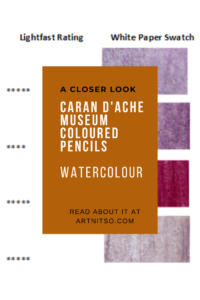 """Pinterest image of coloured pencil details and violet swatches. Text says """"A closer look - Caran d'Ache Museum Coloured Pencils Watercolour. Read about it at Artnitso.com'"""