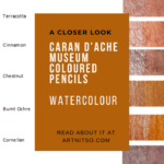 "Pinterest image of coloured pencil details and red-orange swatches. Text says ""A closer look - Caran d'Ache Museum Coloured Pencils Watercolour. Read about it at Artnitso.com'"