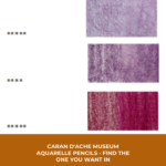 Pinterest image of Caran dAche Museum violet pencil colour lightfast rating and white paper swatch. Text says ' Caran d'Ache Museum Aquarelle Pencils - find the one you want in 2 seconds! Use the online colour chart at Artnitso.com'