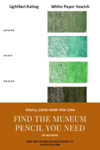 Pinterest image of Caran dAche Museum green pencil colour lightfast rating and white paper swatch. Text says - 'You'll love how you can find the Museum pencil you need in seconds. Use the online colour chart at Artnitso.com'